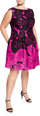 Taylor Cap-Sleeve Rose-Print Fit-&-Flare Dress