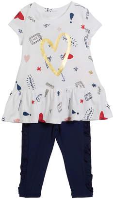 Kate Spade doodle-print short-sleeve top w/ ruffle leggings, size 12-24 months