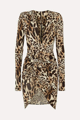 Alexandre Vauthier Ruched Animal-print Stretch-jersey Mini Dress - Leopard print