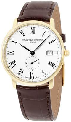 Frederique Constant Men's 40mm Brown Leather Band Steel Case Quartz White Dial Analog Watch FC-245WR5S5