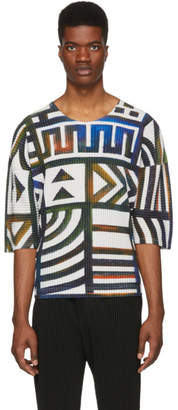 Issey Miyake Homme Plisse Multicolor Pleated Graphic T-Shirt