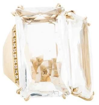 H.Stern 18K Rock Crystal Quartz & Diamond Cobblestones Ring