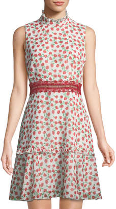 Donna Morgan Mock-Neck Rosette-Print Dress