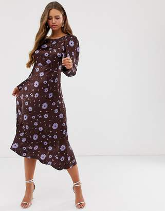 Ghost Rosaleen floral print long sleeve satin midi dress