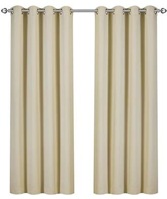 Utopia Bedding Blackout Room Darkening and Thermal Insulating Window Curtains/Panels/Drapes - 2 Panels Set - 8 Grommets per Panel - 2 Tie Backs Included (Beige