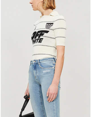 Off-White Striped stretch-knit top