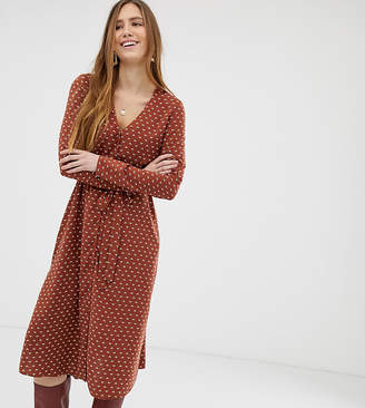 Miss Selfridge midi dress with tie waist in brown