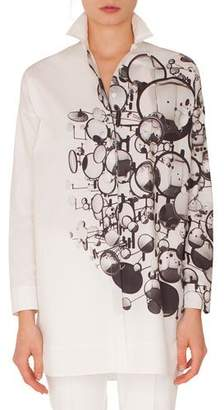 Akris Punto Long-Sleeve Button-Down Mirror-Print Cotton Tunic Blouse