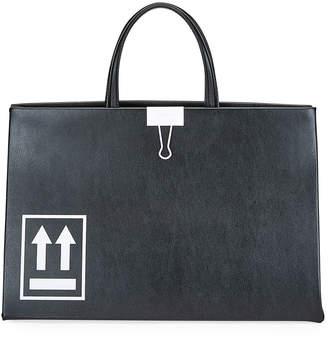 Off-White Off White Medium Leather Box Tote Bag