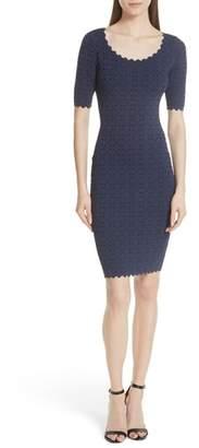 Milly Laser Cut Pointelle Sheath Dress