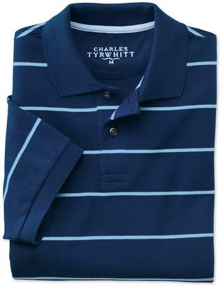Charles Tyrwhitt Blue and Sky Stripe Pique Cotton Polo Size XL