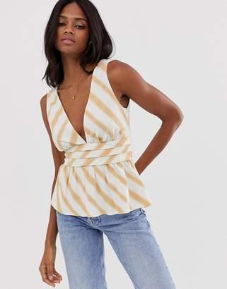 Asos Design DESIGN deep plunge sun top with waist detail in stripe