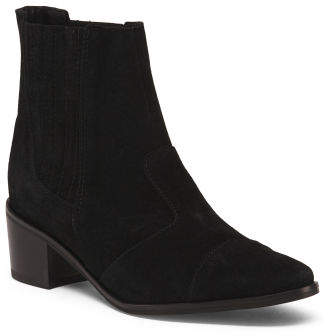 Made In Italy Western Suede Ankle Booties