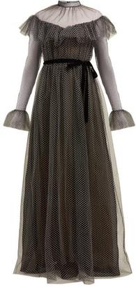 Erdem Mirabelle Ruffled Polka Dot Tulle Gown - Womens - Black White