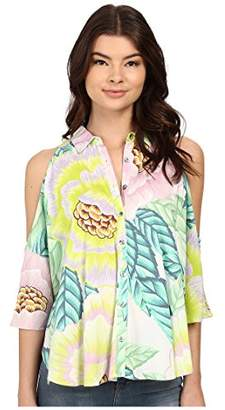 Mara Hoffman Women's Rayon Open Shoulder Blouse Top Size