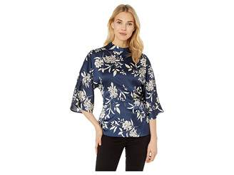 Vince Camuto Elbow Sleeve Etch Bouquet Fold-Over Side Blouse