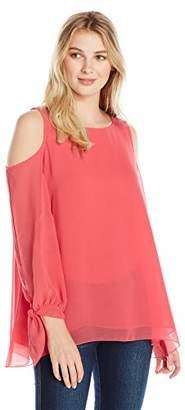 Lark & Ro Women's Long Sleeve Cold Shoulder Crimped Blouse
