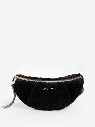 Miu Miu WOMEN'S BLACK VELVET MATELASSE FANNY PACK WITH CHAIN STRAP