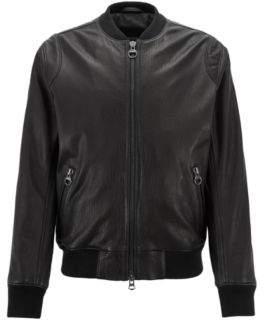BOSS Hugo Slim-fit bomber jacket in New Zealand lambskin 40R Black