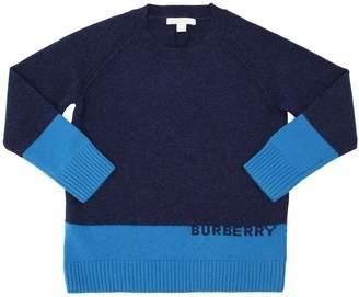 Burberry Logo Intarsia Cashmere Knit Sweater