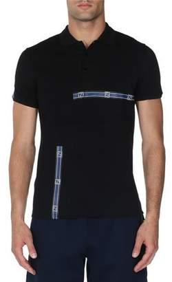 Fendi Forever Logo Stripe Polo Shirt