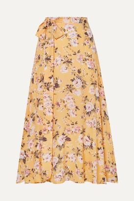 Faithfull The Brand Asiya Belted Floral-print Crepe Wrap-effect Midi Skirt - Yellow