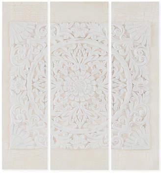 Madison Park Wooden Mandala White 3-Pc. 3D Embellished Canvas Wall Art Set