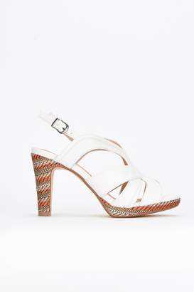 Wallis White Covered Heel Platform Sandal