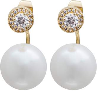 L. Erickson Simulated Pearl Front/Back Earrings