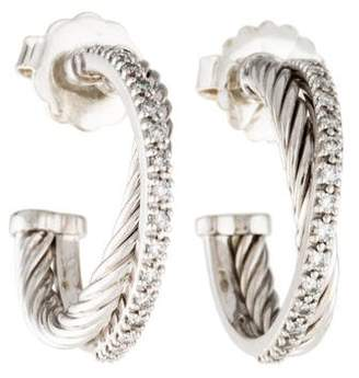 David Yurman Diamond Crossover Small Hoop Earrings