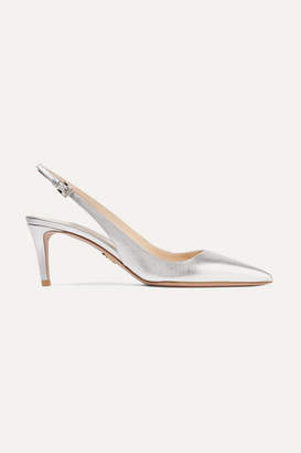 Prada 65 Metallic Textured-leather Slingback Pumps - Silver
