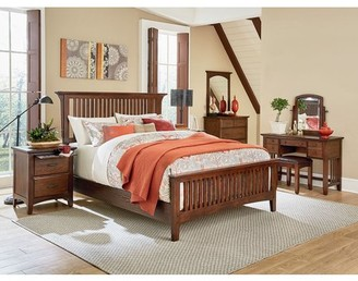 Inspired by Bassett Modern Mission Queen Bedroom Set with 2 Nightstands, 1 Chest, 1 Vanity, and 1 Bench