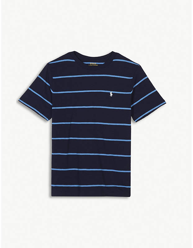 Embroidered logo striped cotton T-shirt 4-16 years