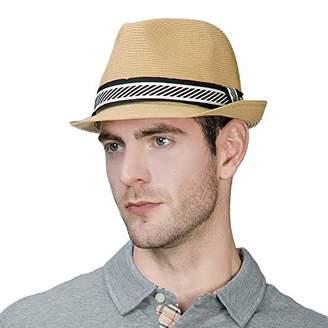 BEIGE Jeff & Aimy Womens Summer Fedora Straw Trilby Beach Panama Derby Safari Sun Hat Crushable Adjustable