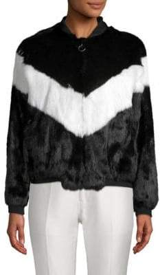Adrienne Landau Colorblock Rabbit Fur Bomber Jacket