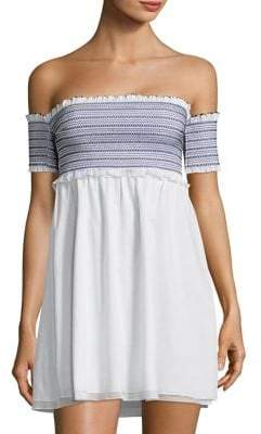 Kisuii Aya Smocked Off-The-Shoulder Cover-Up Dress