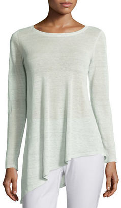 Eileen Fisher Long-Sleeve Sheer Crepe Asymmetric Tunic $238 thestylecure.com