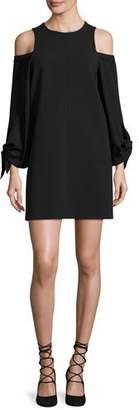 Tibi Cold-Shoulder Tie-Sleeve Crepe Mini Dress, Black