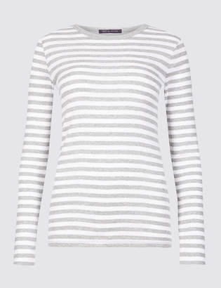 c05831e97c M&S CollectionMarks and Spencer Pure Cotton Striped Long Sleeve T-Shirt