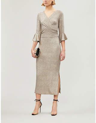 Forever Unique Metallic cotton-blend wrap midi dress