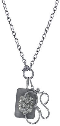 Ganesh Sheryl Lowe Link Chain Necklace with Diamond Dog Tag & Om Pendants