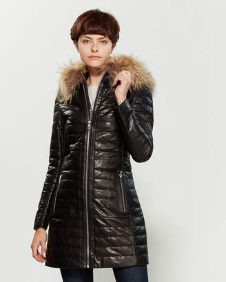 Intuition Paris Detty Real Fur-Trimmed Hooded Leather Coat