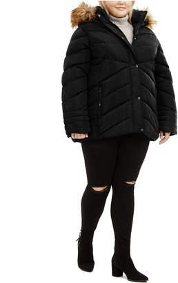 Madden-Girl Juniors' Plus Size Faux-Fur Trim Hooded Puffer Coat
