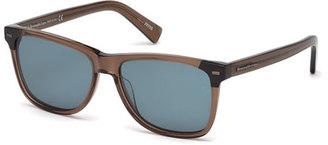 Ermenegildo Zegna Square Transparent Acetate Sunglasses $370 thestylecure.com