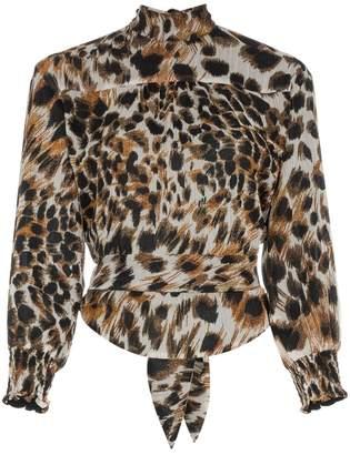 Nanushka marjan ocelot print chiffon blouse