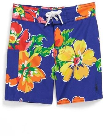 Ralph Lauren Floral Print Swim Trunks (Toddler Boys)