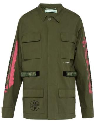 Off-White Off White Diagonal Arrow Print Military Field Jacket - Mens - Green