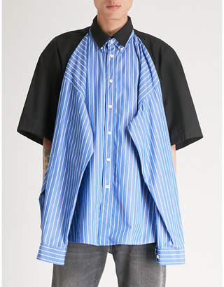 Balenciaga Mens Blue and White Striped Layered Oversized Cotton Shirt
