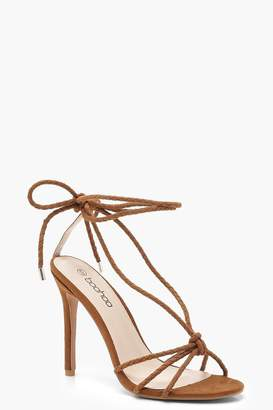boohoo Plaited Wrap Heel Sandals