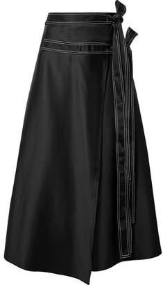 Beaufille Ida Belted Satin Wrap Skirt - Black